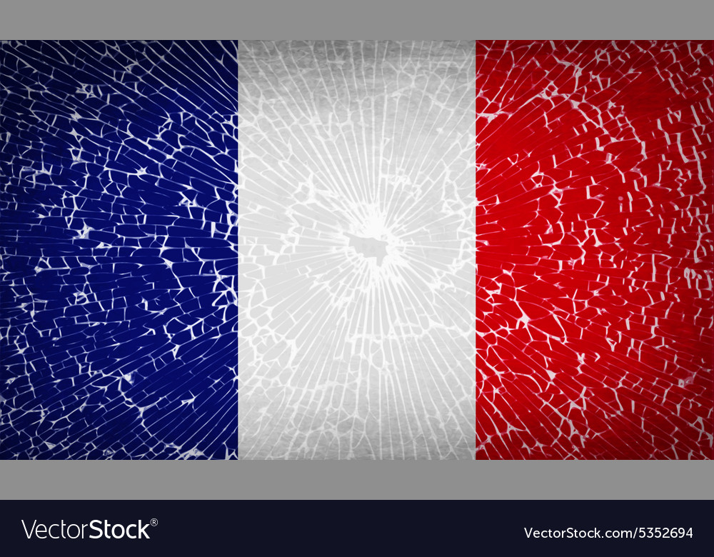 Flags frence with broken glass texture vector
