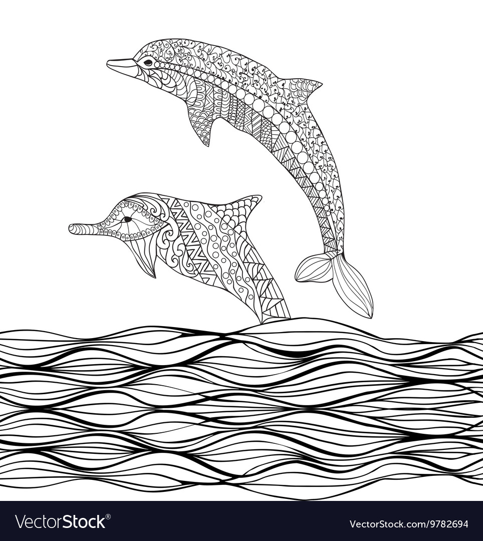 Hand drawn zentangle dolphins with scrolling sea w vector