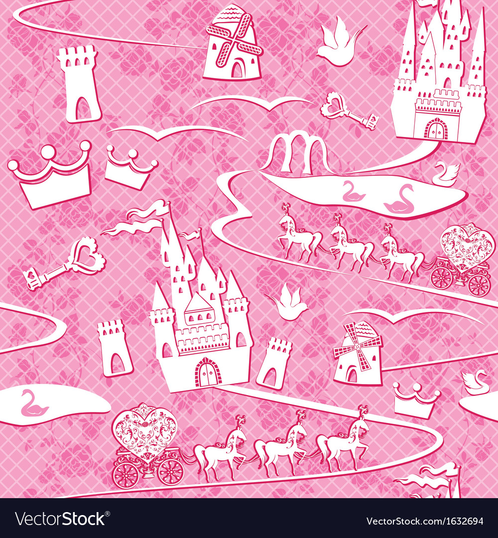 Seamless pattern with fairytale land  castles lak vector