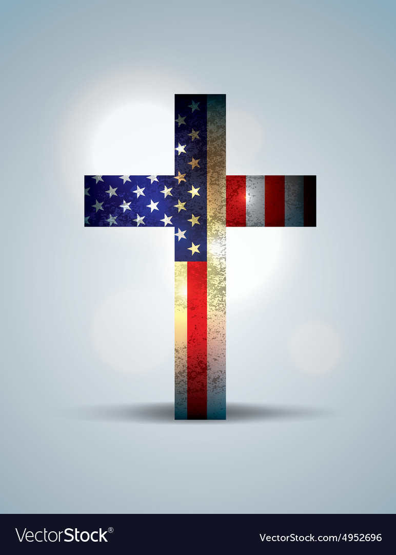 American flag and christian cross vector