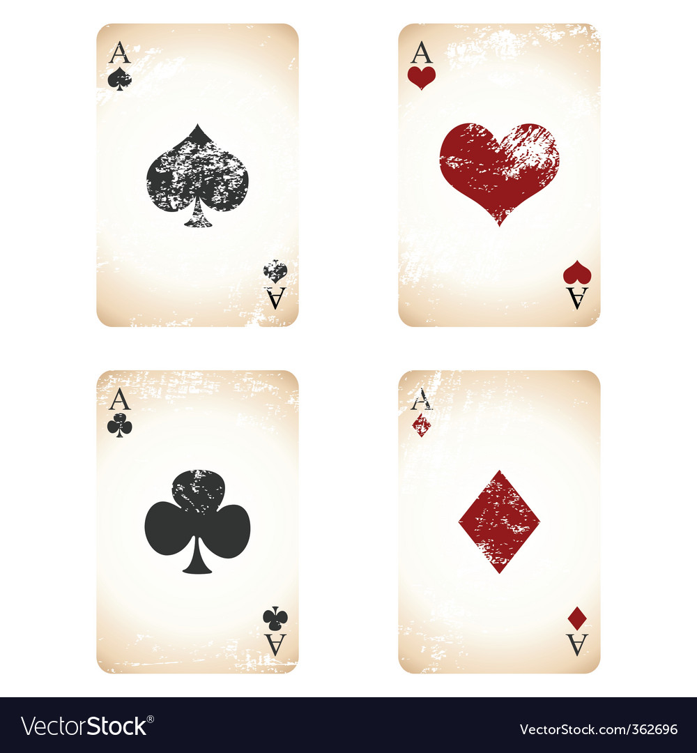 Grunge playing cards vector