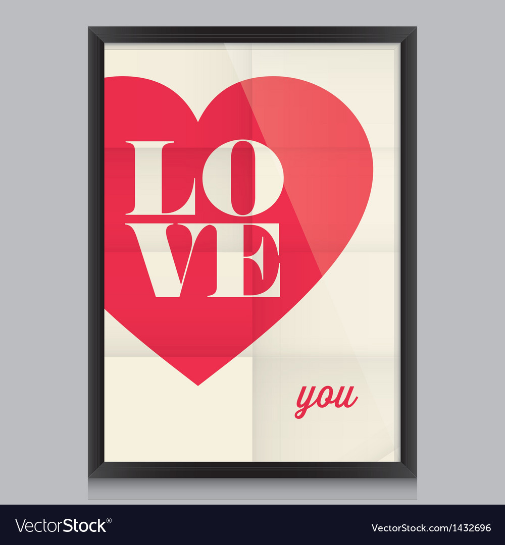 I love you poster and frame vector
