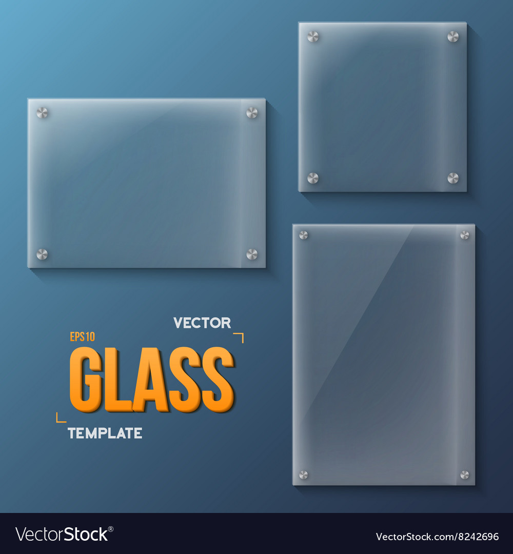 Set of realistic glass frame templates vector