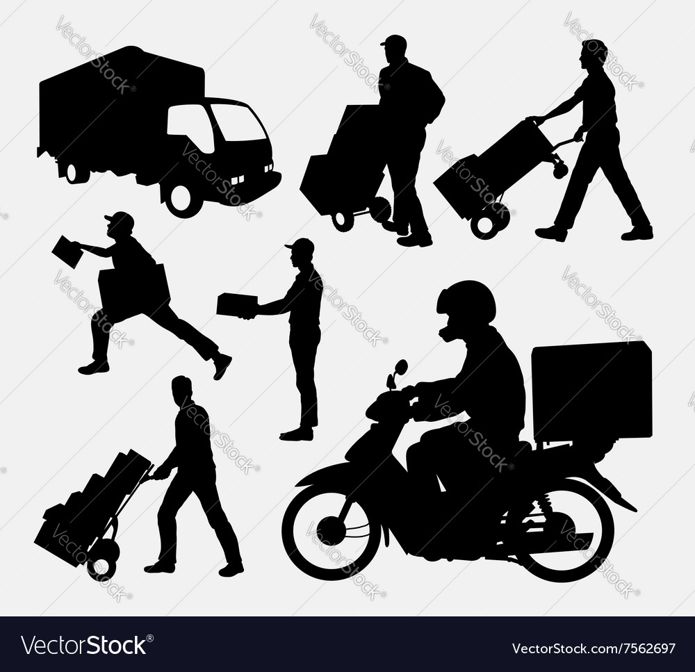 Delivery activity silhouette vector