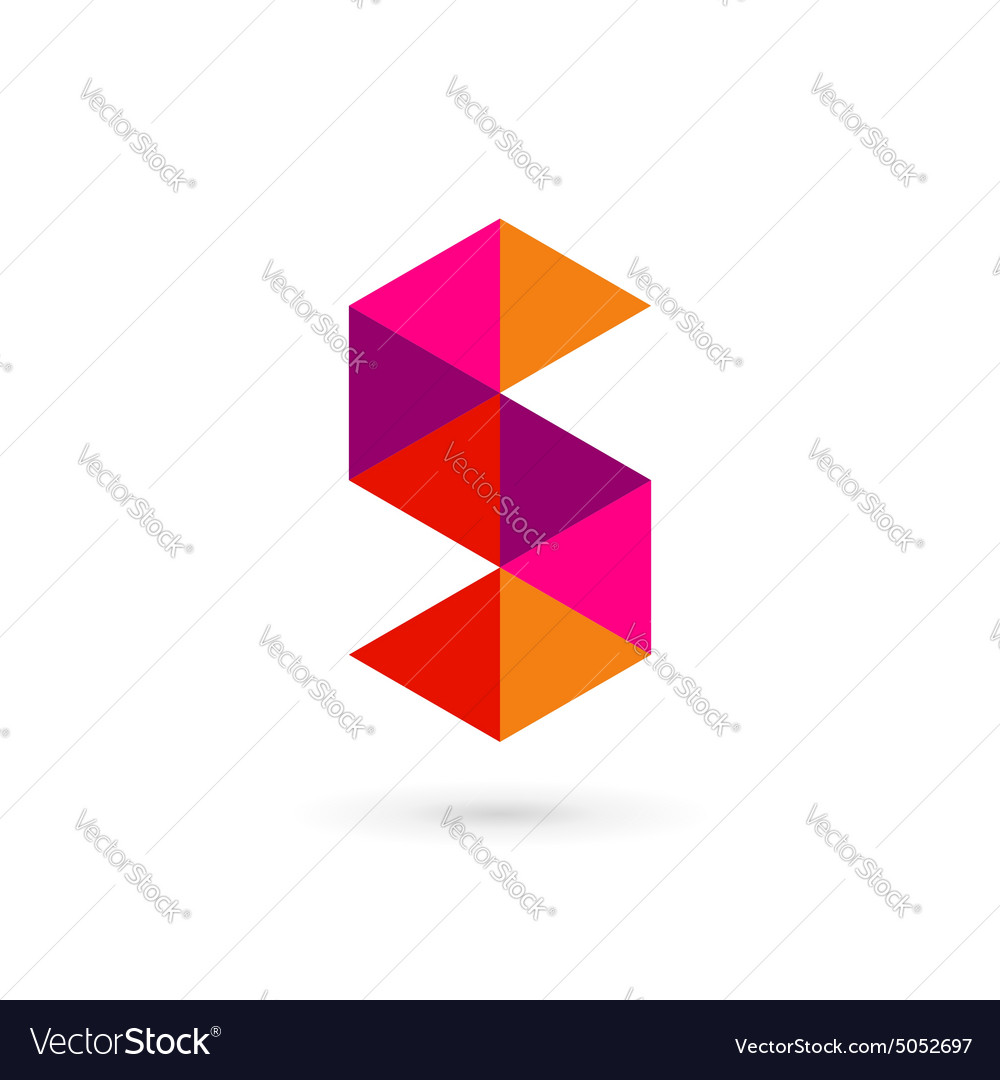 Letter s number 5 mosaic logo icon design template vector