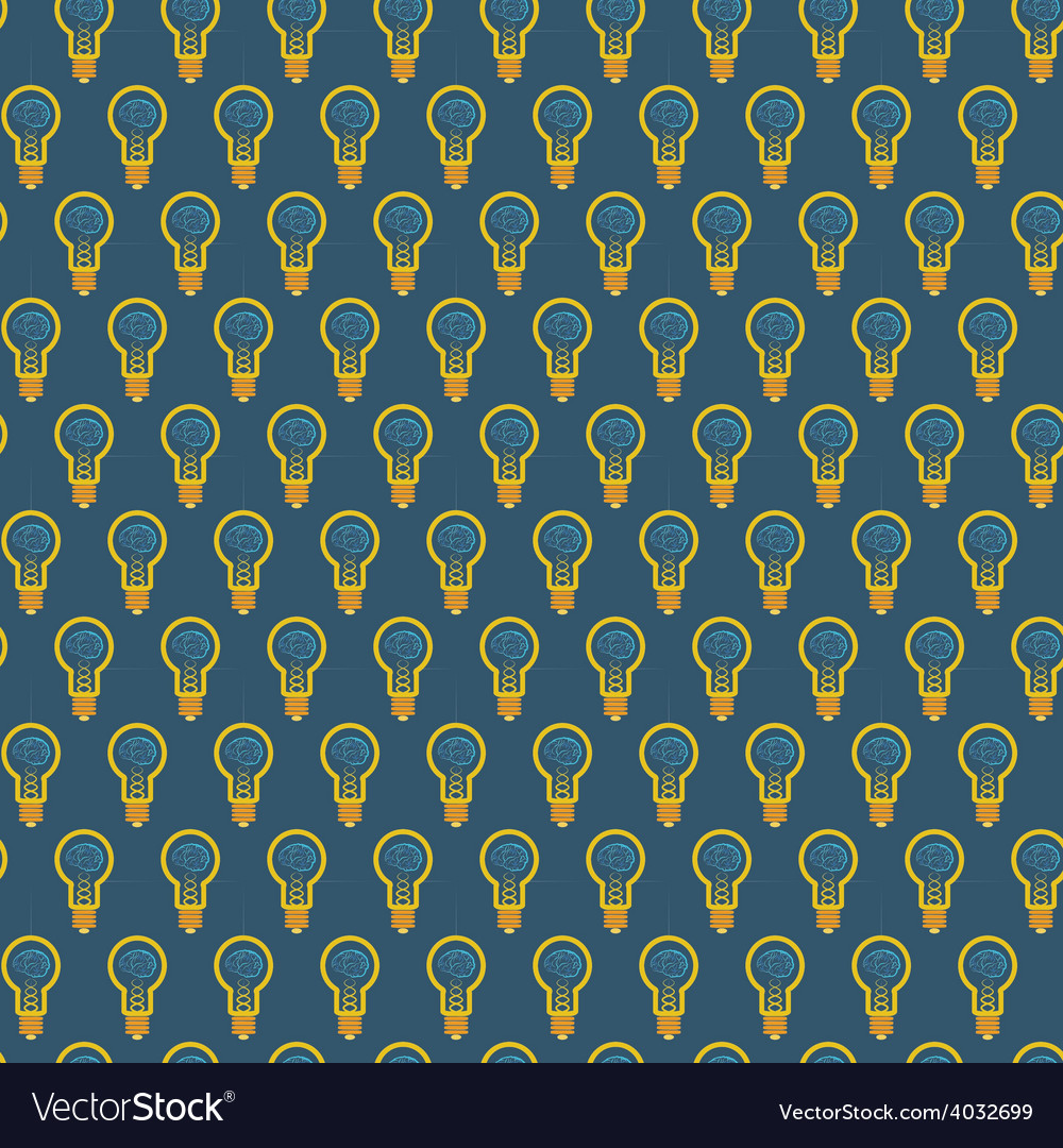 Seamless pattern of bulb with brain inside on blue vector