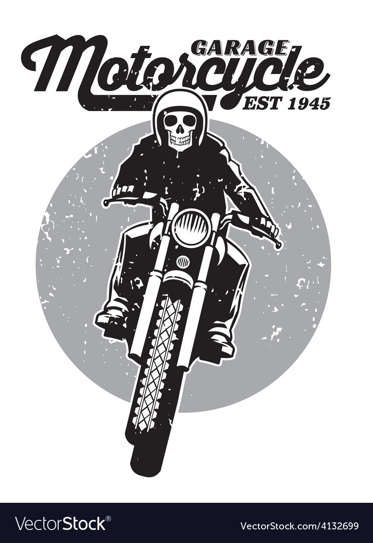 Skull riding a motorcycle vector