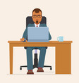 businessman working with laptop at table vector image vector image