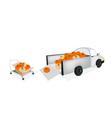 Hand Truck Loading Fresh Pumpkins into Pickup vector image