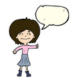 cartoon happy girl giving thumbs up symbol with vector image
