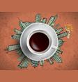Coffee cup concept - city doodles with cofee mug vector image