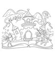 coloring fairy open book tale concept kids vector image