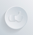 paper flat circle icon with a shadow thumb up vector image