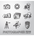 Photographer freehand icons set with - shutter vector image