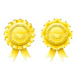 gold first prize rosettes vector image