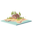 low poly house in forest vector image