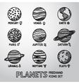 Set of hand drawn planet icons with names and vector image
