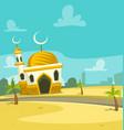 cartoon mosque building scene art vector image