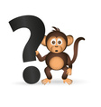 Cute chimpanzee little monkey and question mark vector image