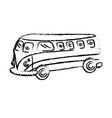 figure retro hippie bus transportation with vector image