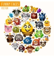 Funny animals in the circle vector image