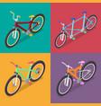 isometric bicycle set with mountane bike vector image