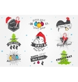 Set of New Year and Merry Christmas Christmas vector image