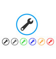 wrench tool rounded icon vector image