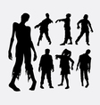 Zombie horror male and female silhouette vector image