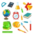 School accessories on a white background vector image
