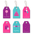 Happy Birthday gift tags vector image