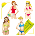 girls on the beach set vector image vector image