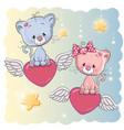cute lovers kittens vector image