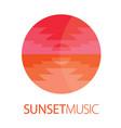 sunset music logo poster vector image