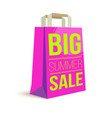 color paper shopping bag with ad text big summer vector image