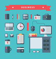 Set of Flat Style Business Icons and Objects with vector image