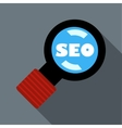 Magnifying glass with text SEO icon flat style vector image