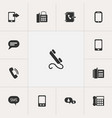 set of 13 editable phone icons includes symbols vector image