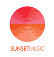 sunset music logo poster vector image