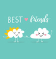 two clouds holding by hands vector image
