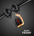 Sale Discount with Fire Flame Black Bow Ribbon vector image vector image