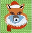 Christmas fox portrait vector image