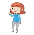 Happy young girl cartoon character vector image
