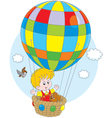 Child flying on a balloon vector image