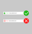 http https secure and not secure connection vector image