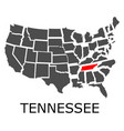 state of tennessee on map of usa vector image