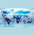 world map over data center room hosting server vector image