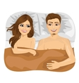 young happy couple in bed vector image