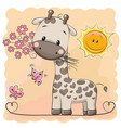 giraffe with flowers and butterflies vector image