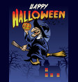 halloween greeting with the old witch vector image